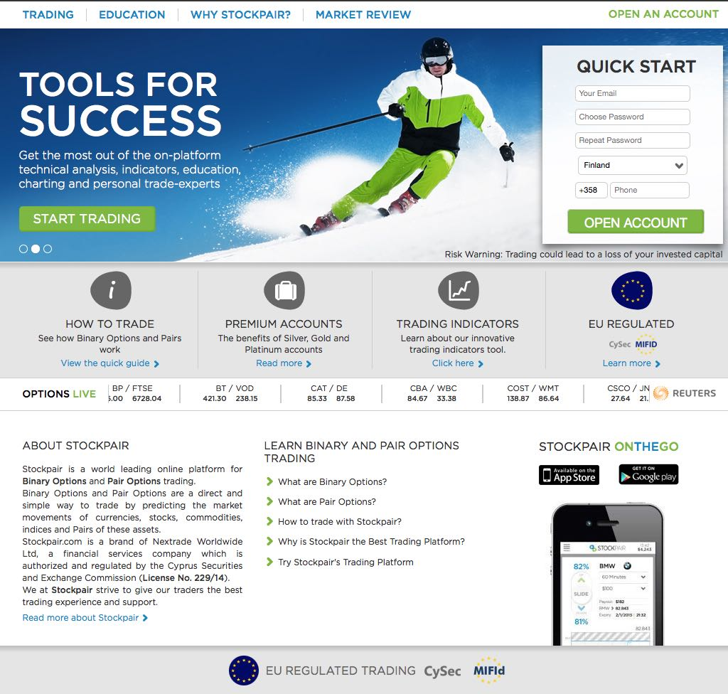 Stockpair binary options broker