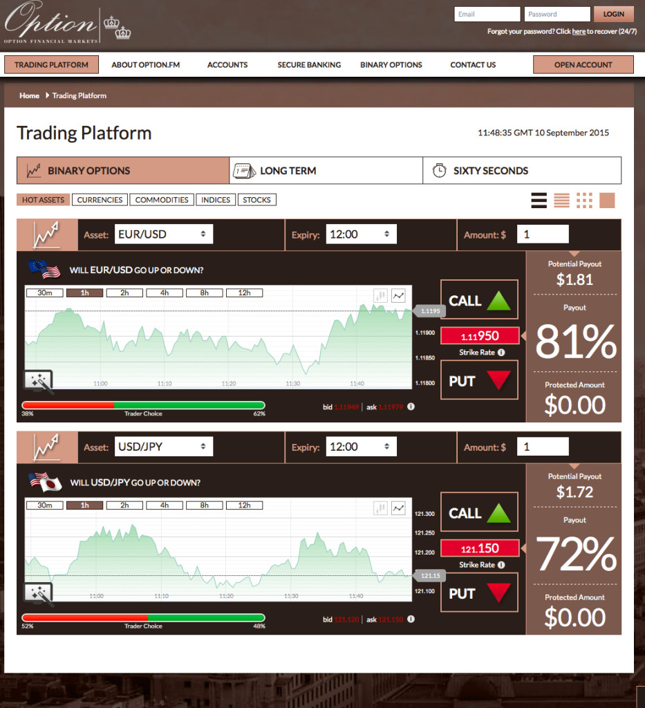Option.fm trading account